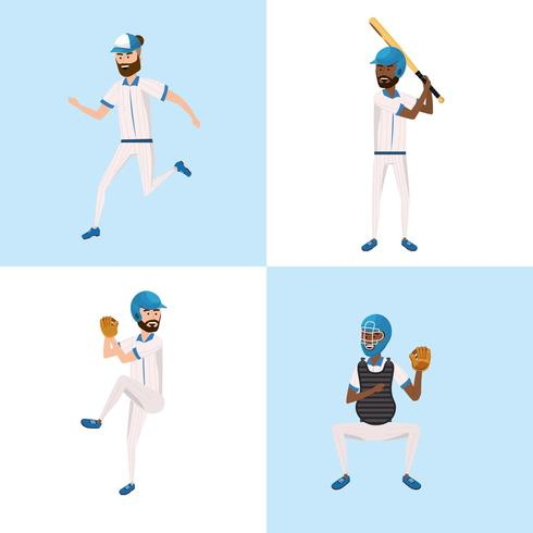 stel honkbalspelers team met professionele uniform vector
