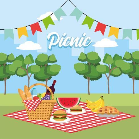 cesta com frutas saudáveis nas bandeiras toalha de mesa e festa