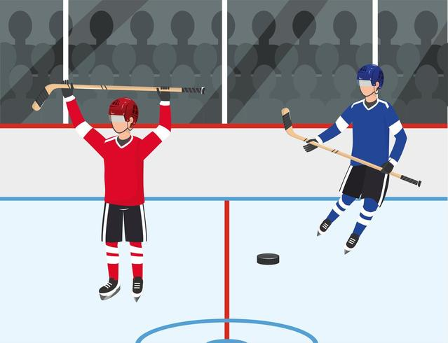 hockey players competition with uniform and equipment vector