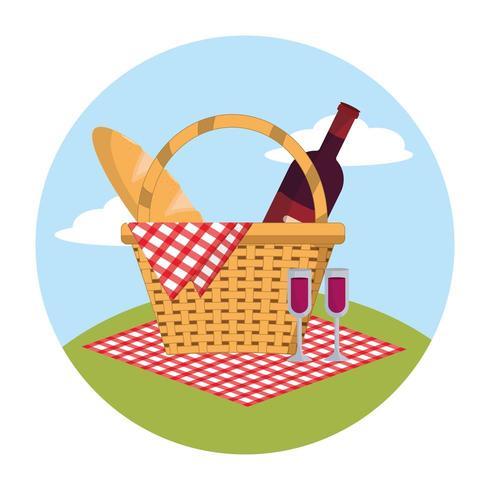 baskte com vinho e pão na decoração da toalha de mesa vetor