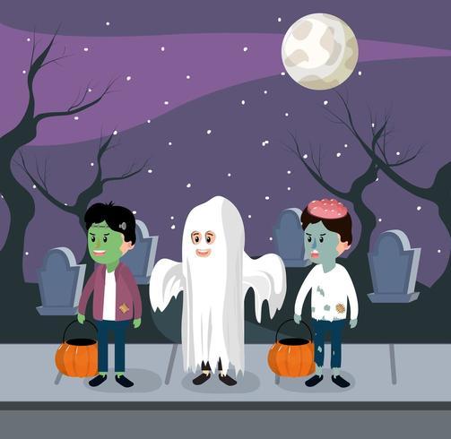 Barn på halloween natten vektor