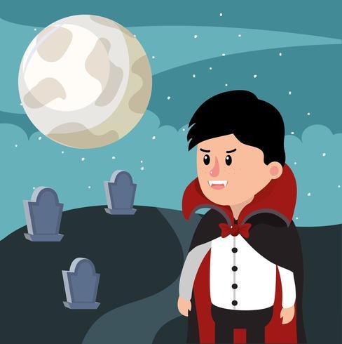 Halloween vampire graveyard boy vector