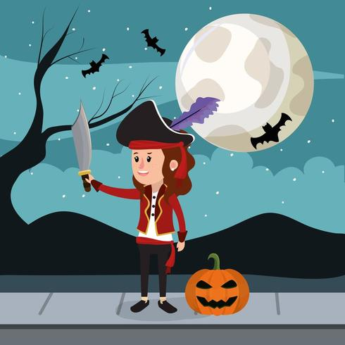Halloween and girl vector