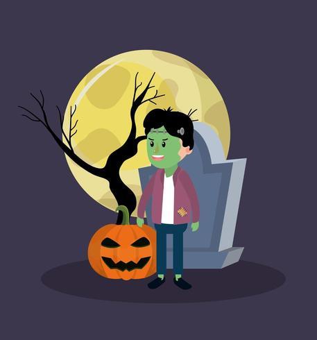 Halloween zombie boy vector