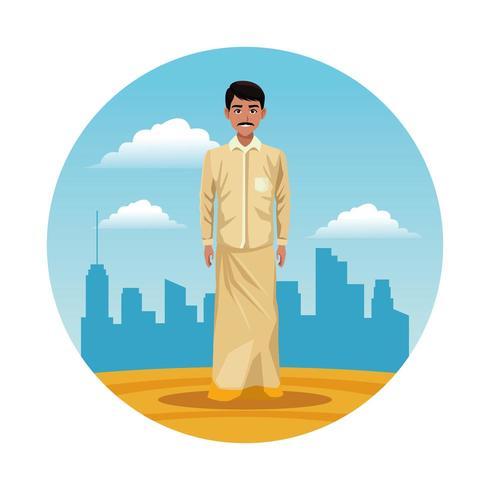 indian india man round icon cartoon vector