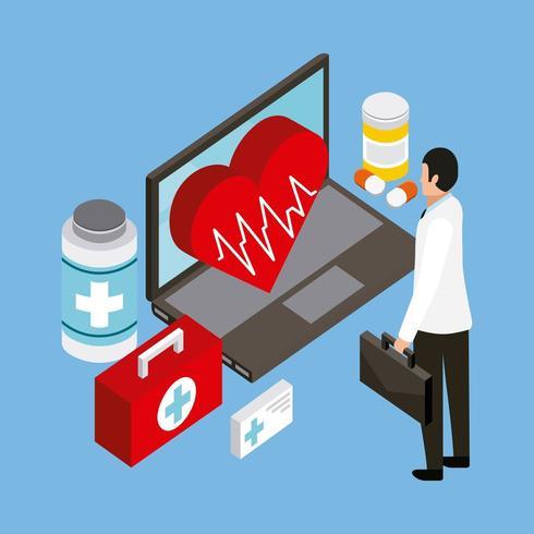 Digital hälsa koncept vektor