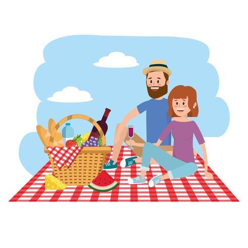 natureza mulher e homem casal com cesto na toalha da mesa vetor