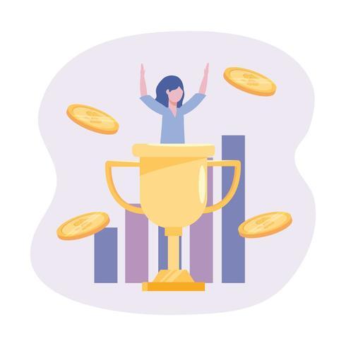 Empresaria con premio de copa y barra de estadísticas con monedas vector