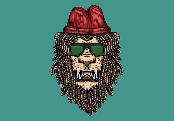 Lion head with dreadlocks vector