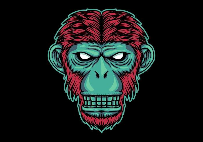 Testa di scimmia al neon