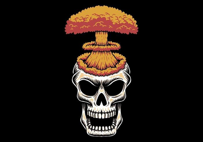 Testa di teschio esplosione di bombe