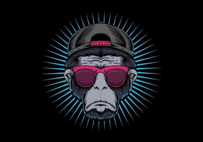 Design degli occhiali con testa di scimmia