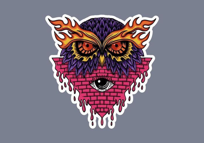 Owl head stickers vector illustration