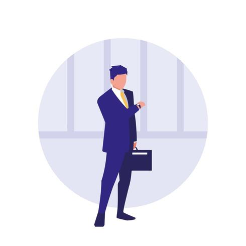businessman with portfolio avatar character vector