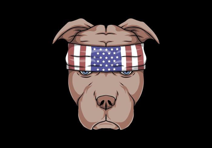 illustrazione di vettore della testa di cane pitbull
