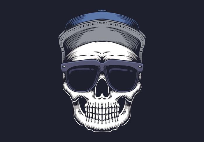 Crâne avec des lunettes vecteur