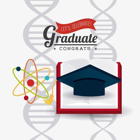 Studenterexamen design med mössa och bok över DNA vektor