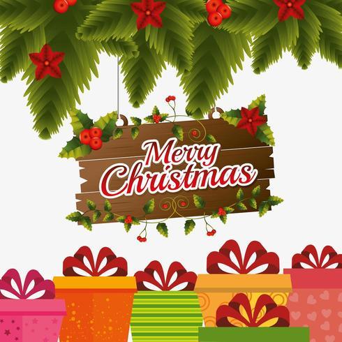 Merry Christmas card design con foglie di pino, cartello in legno e scatole regalo