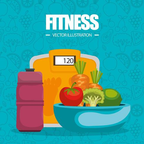 healthy food and fitness icons and pattern vector