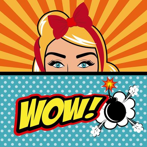 Pop art woman with Wow text and Bomb vector
