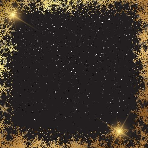 Christmas background with golden snowflake border  vector