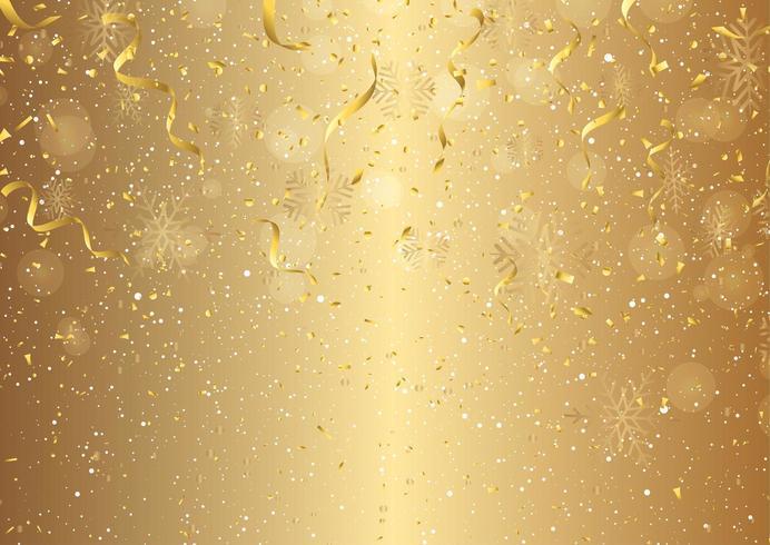 Sfondo di Natale con stelle filanti, coriandoli e fiocchi di neve