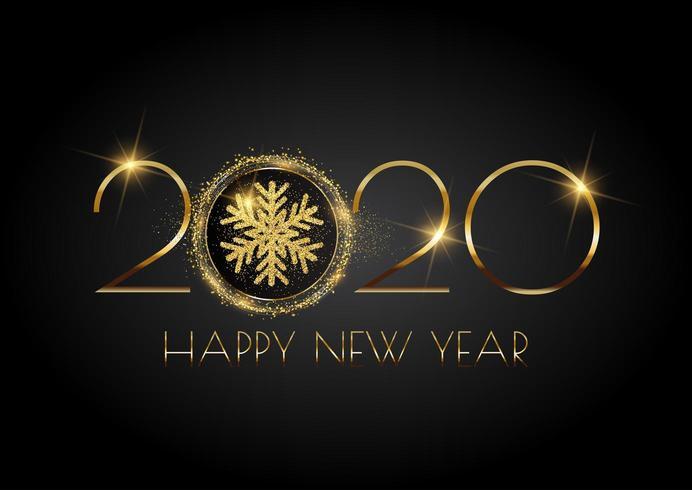 Glittery bakgrund för gott nytt år med snöflinga vektor