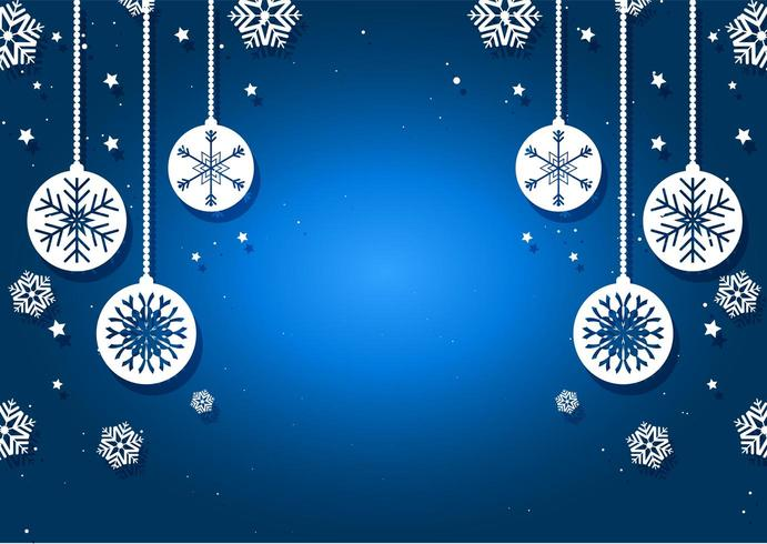 Christmas baubles and snowflakes background