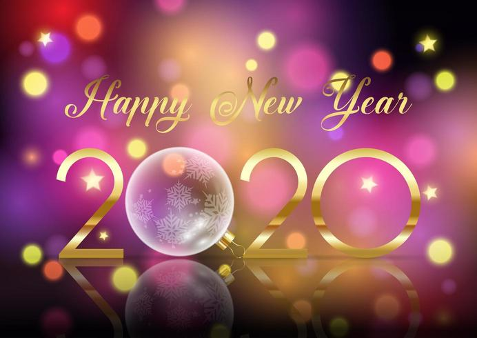 Happy New Year  background with glass bauble vector