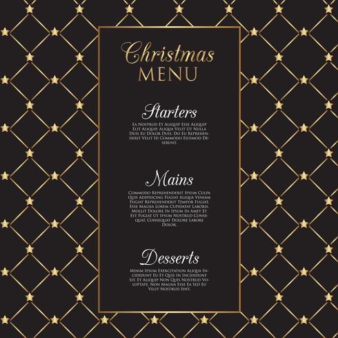 Menu design di Natale con stelle d'oro