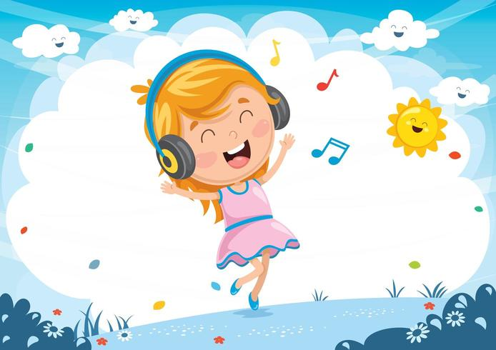 Illustrazione Del Bambino Che Ascolta La Musica