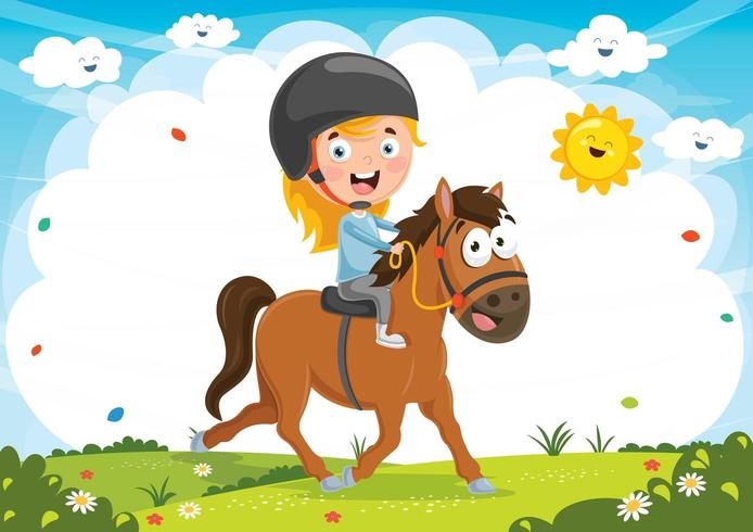Illustration Of Kid Riding Horse vector