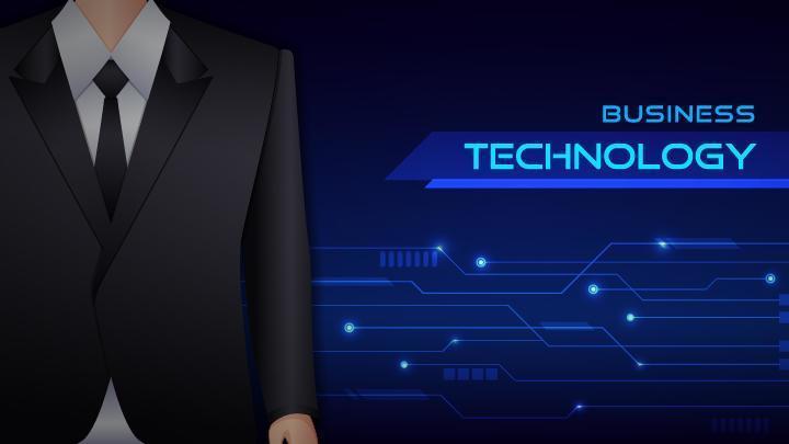 Business man technology banner. vector