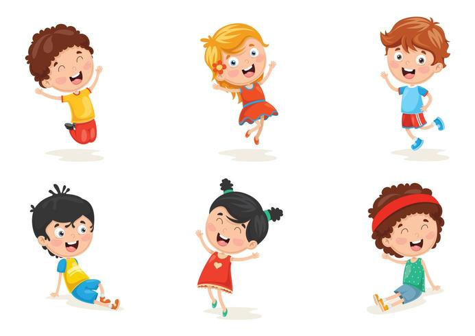 Illustration Of Happy Kid Characters Set vector