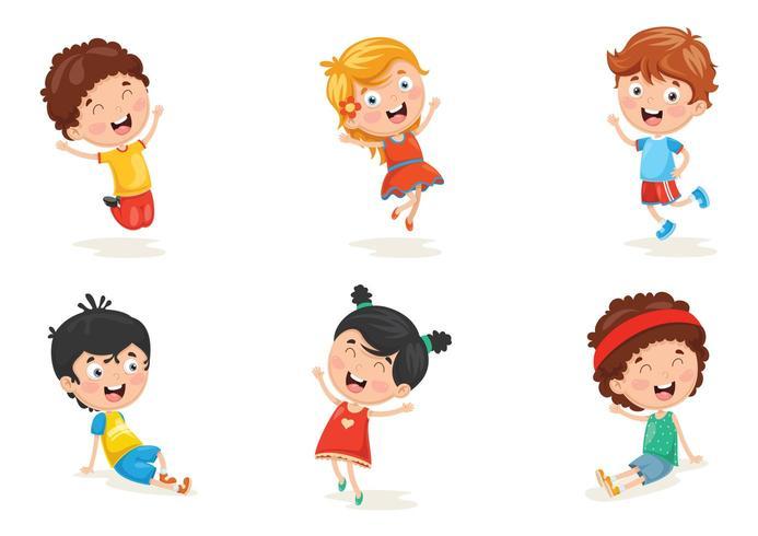 Ilustração do conjunto de caracteres de criança feliz vetor