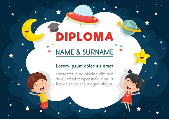 Ilustración del vector del diploma de niños en edad preescolar