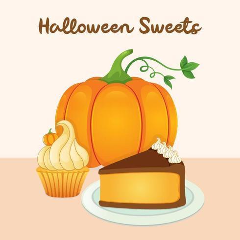 Halloween sweet pumpkin with cake and cupcake vector