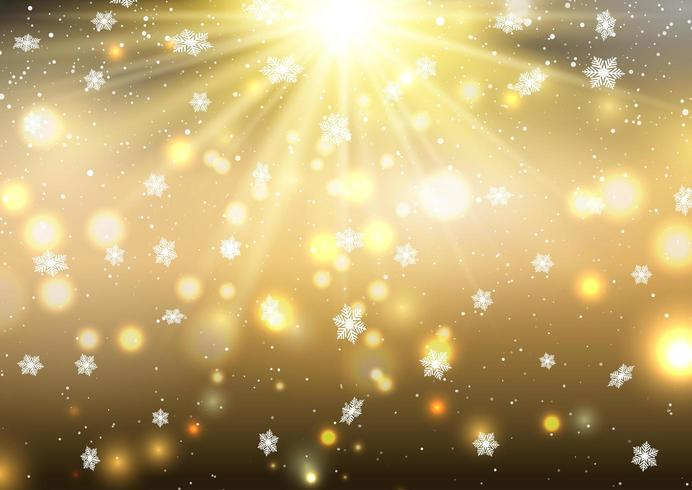 Christmas golden background with falling snowflakes vector