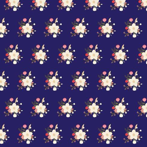 blommig bukettmönster på blå bakgrund vektor