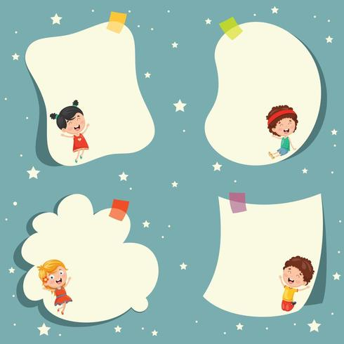 Cute Cartoon Kids and Empty Template Design vector