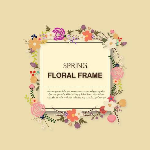 Vårens blommig ram vektor