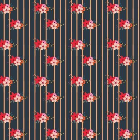 Randig blommönster design vektor