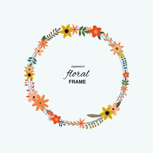 Cirkulär blommig ram vektor