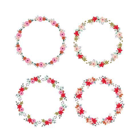 Set of round floral frames  vector