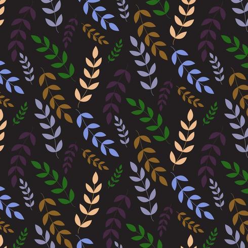 Dark leaves seamless pattern  vector