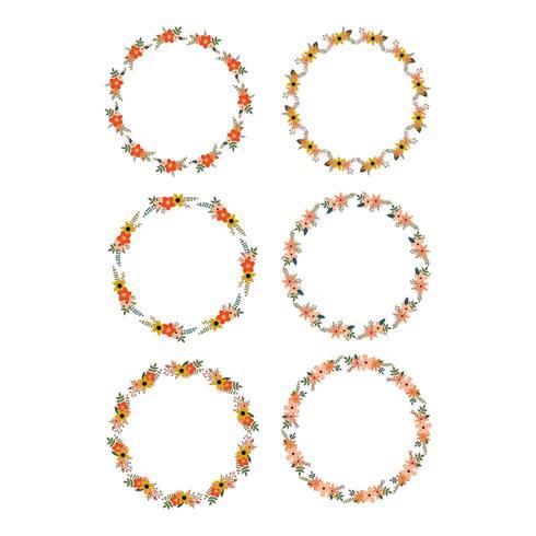 Set of six floral frames vector