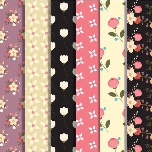 Set of floral pattern design vector