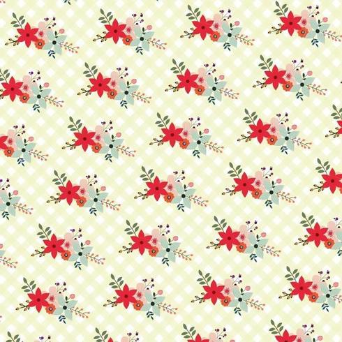 floral background with checker pattern vector