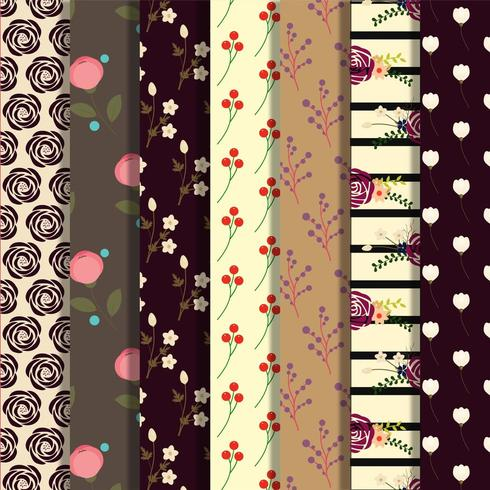 Set of dark floral patterns  vector