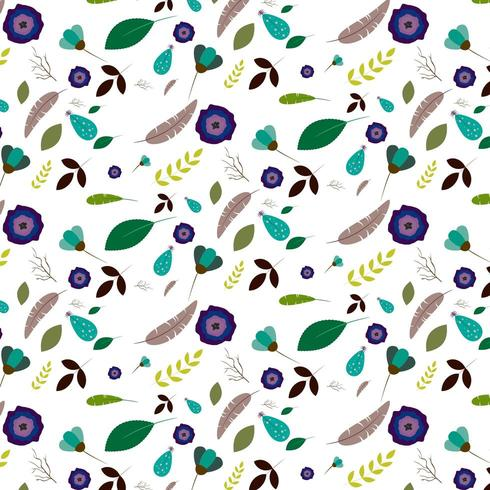 flower and leaf pattern on white background vector